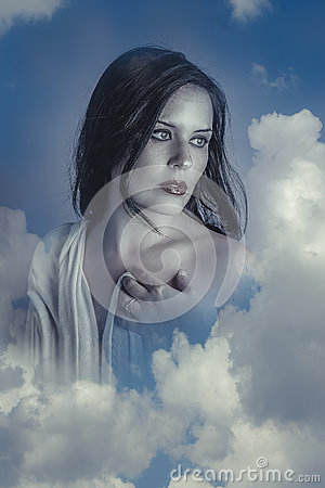 Free Sensual, Beautiful Woman In Clouds, Mithology Concept. Brunette Stock Photography - 89244332