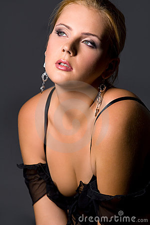 Sensual blond in black lingerie