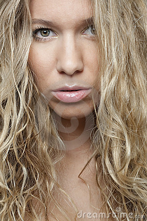 Sensual blond girl portrait