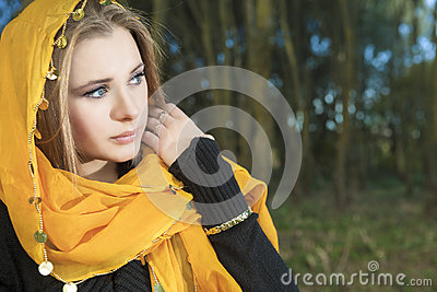 Sensual Blond woman Outdoors
