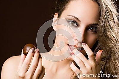 Sensual chocolate girl.