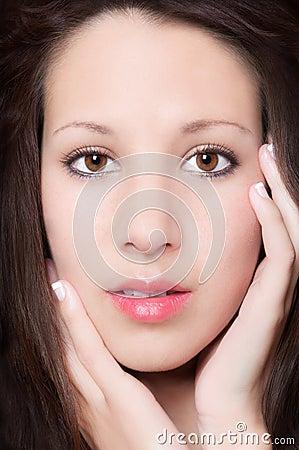 Sensual closeup portrait of beautiful young woman
