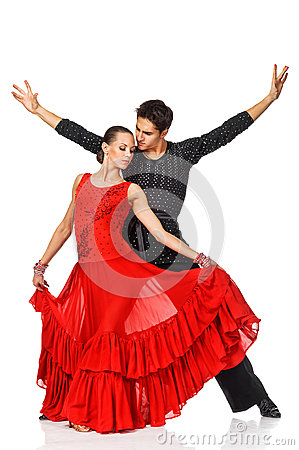 Free Sensual Couple Dancing Salsa. Latino Dancers In Action. Royalty Free Stock Photos - 29705148