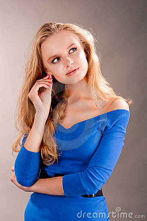 Free Sensual Dreaming Young Blonde Girl Touching Ear Stock Images - 11489314