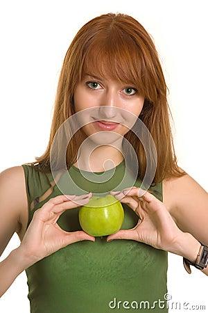Free Sensual Girl Holding Apple Like A Heart Royalty Free Stock Photo - 6342615