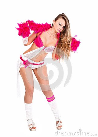 Sensual girl with pink boa