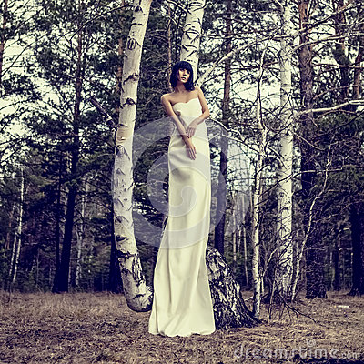 Sensual girl in the woods
