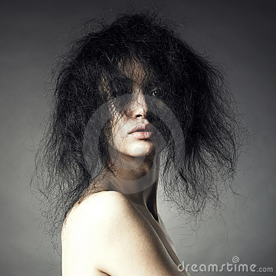 Sensual lady with magnificent bushy hair