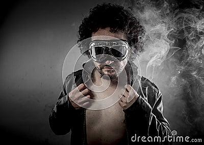 Sensual male biker with sunglasses era dressed Leather jacket, h