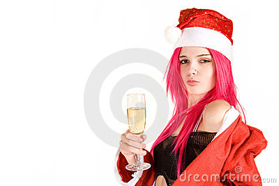Sensual mrs. Santa with champagne glass