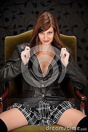Sensual provocative Hispanic fashion model
