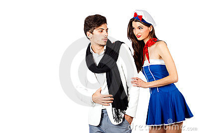 Sensual sailor woman flirting  elegant man