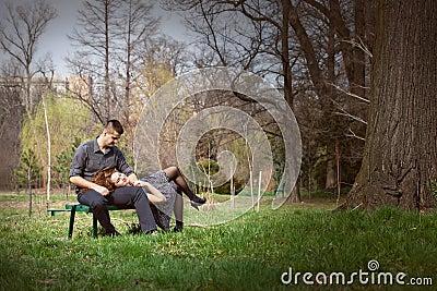 Sensual serene couple on bench