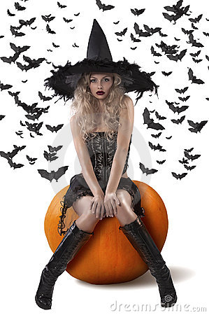 Free Sensual Witch Dressed In Black Royalty Free Stock Image - 21494706