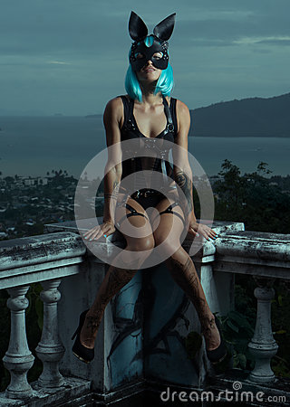 Free Sensual Woman In Blue Wig With Leather Belts And Rabbit Mask Stock Images - 83093314