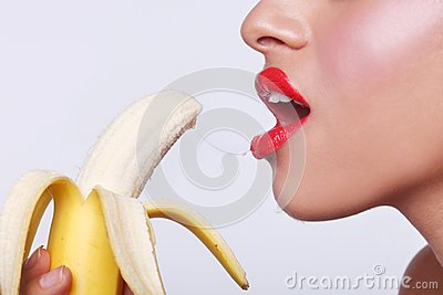 Sensual Woman Preparing to Eat a Banana