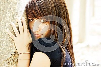Sensual woman staring at camera