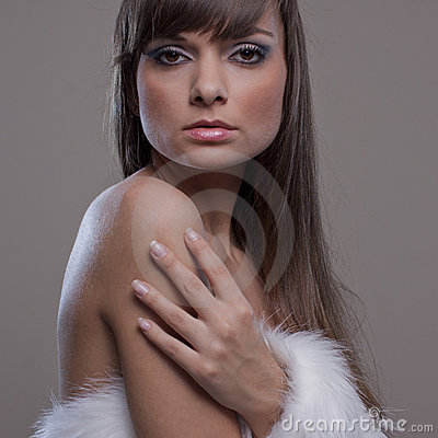 Sensual woman with withe fur