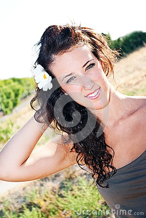 Sensual young girl with light skin and dark hair p