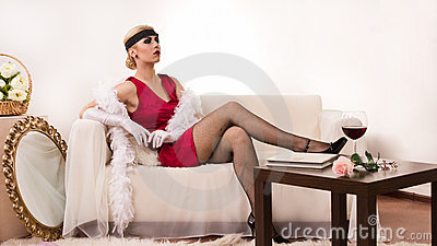 Sensual young lady in boudoir