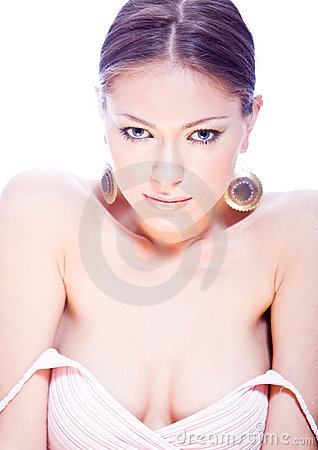 Sensual young woman with ear-rings and nacked shou