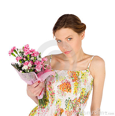 Sensual Young Woman with Flowers