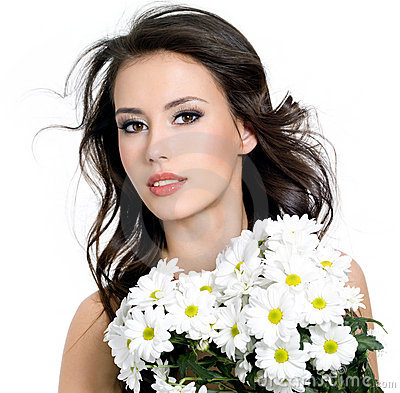 Sensuality beautiful girl with flowers