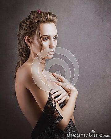 Free Sensuality. Beauty Blonde. Studio Female Portrait Royalty Free Stock Photo - 102524735