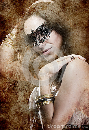 Sensuality brunette with venetian mask, fantasy and romantic con