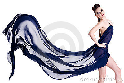Sensuality and elegant woman posing with chiffon
