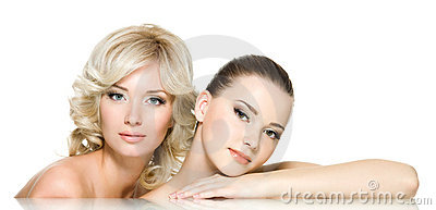 Sensuality faces of two beautiful young women