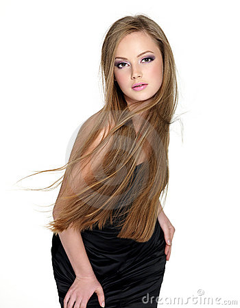 Sensuality fashion girl with long straight hair