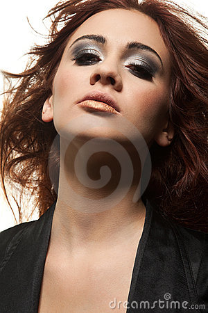 Sensuality portrait of redhead girl