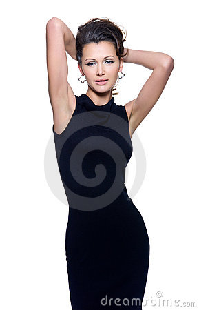 Sensuality woman in black dress