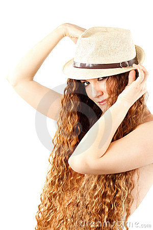 Sensuality woman in fashion hat with  long hair