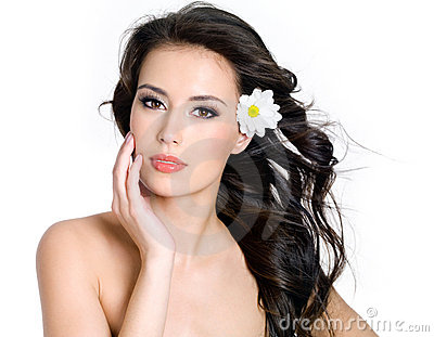 Sensuality  woman with fresh skin of face