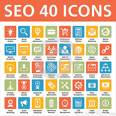 Free SEO 40 Vector Icons Royalty Free Stock Photography - 29102577