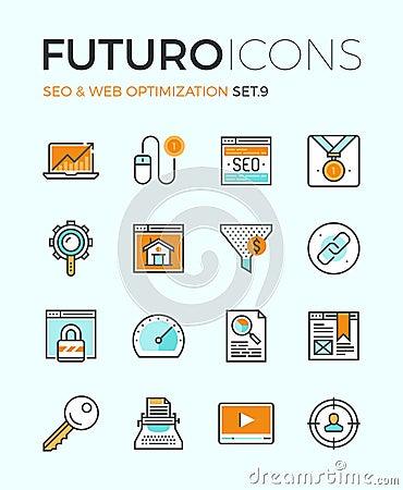 Free SEO And Web Optimization Futuro Line Icons Royalty Free Stock Images - 53565929