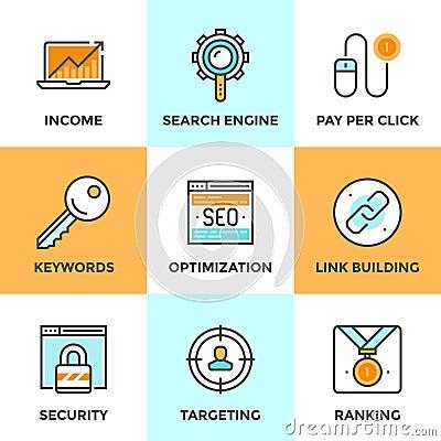 Free SEO And Web Optimization Line Icons Set Stock Photography - 49651992