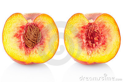Seção da fruta do pêssego