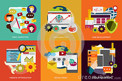 SEO and Development Vector Illustration