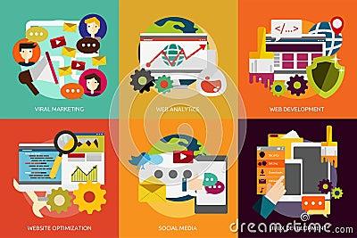 SEO and Development Vector Illustration