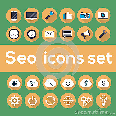 Seo icons set with longshadow Vector Illustration