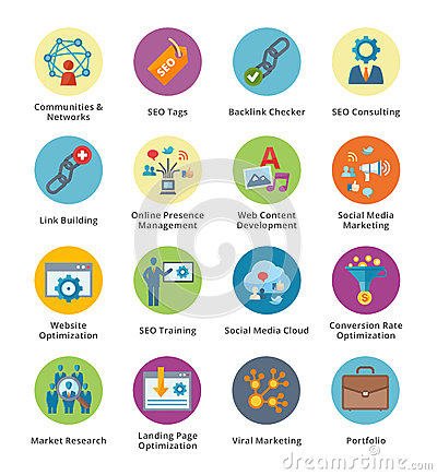 SEO & Internet Marketing Flat Icons Set 2 - Bubble