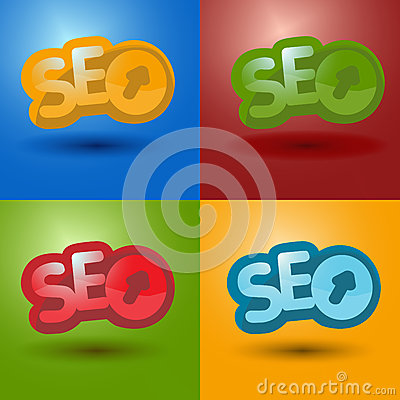 SEO logo in 4 different color