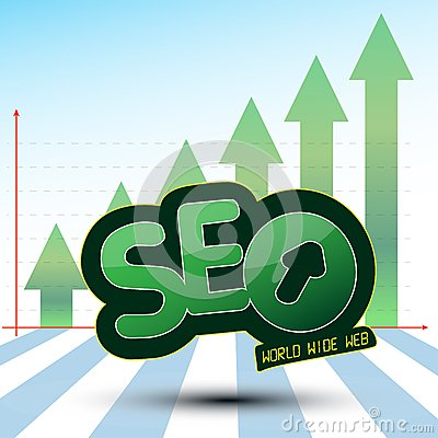 SEO Process Graphics with Green Arrow Up