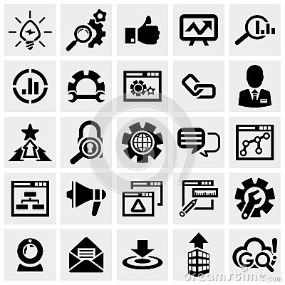 SEO vector icons set on gray.