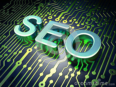 SEO web development concept: SEO on circuit board
