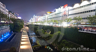 Seoul - artificial river Editorial Stock Photo