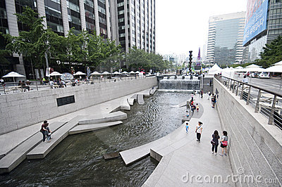 Seoul - Cheonggyecheo artificial river Editorial Photography